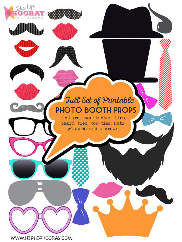 Printable PDF digital print your own DIY Wedding Party Moustache Lips Hats Beards Glasses Ties Signs Props by Hip Hip Hooray