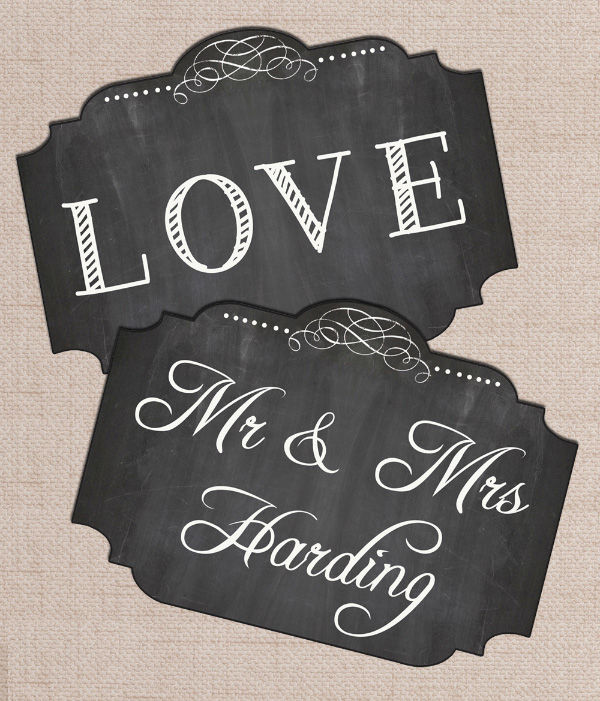 Printable PDF digital print your own DIY Wedding Photo Booth Chalkboard LOVE mr and Mrs Chalkboard Signs by Hip Hip Hooray