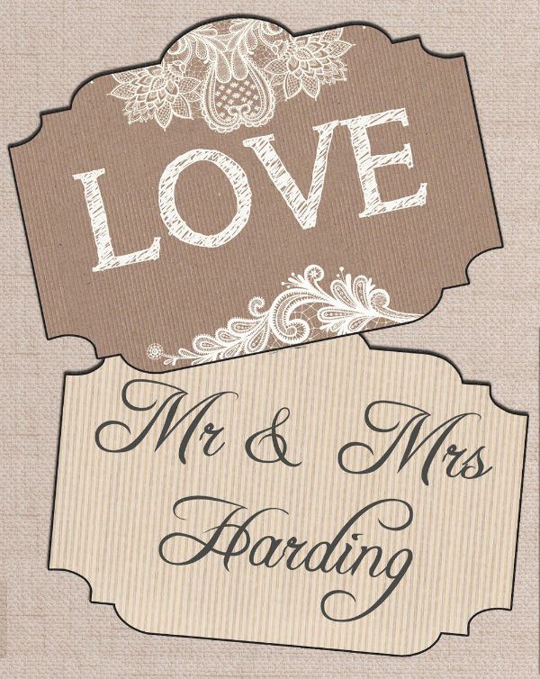 Printable PDF digital print your own DIY Wedding Photo Booth Kraft and Lace Rustic Mr Mrs Signs by Hip Hip Hooray