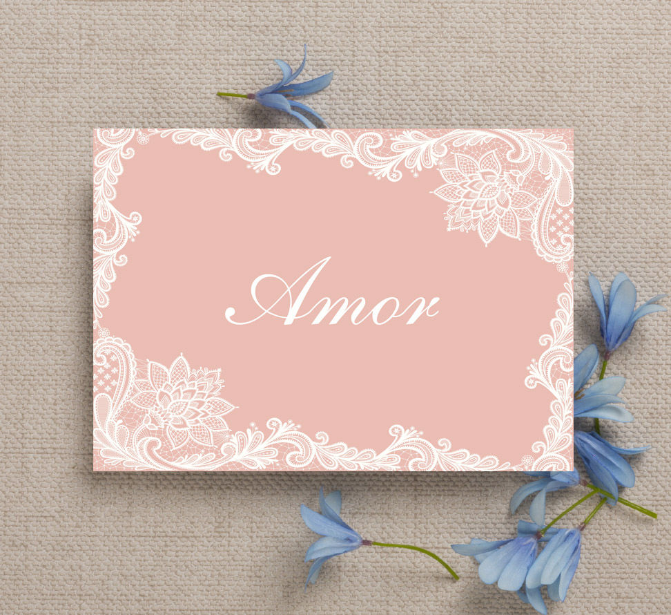 2. Blush pink and lace wedding table name cards by Hip Hip Hooray wedding stationery