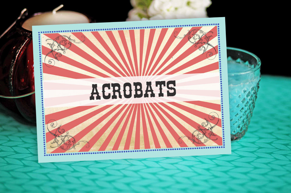 6. Circus Themed Wedding Table Name Cards pastel theme by Hip Hip Hooray wedding stationery