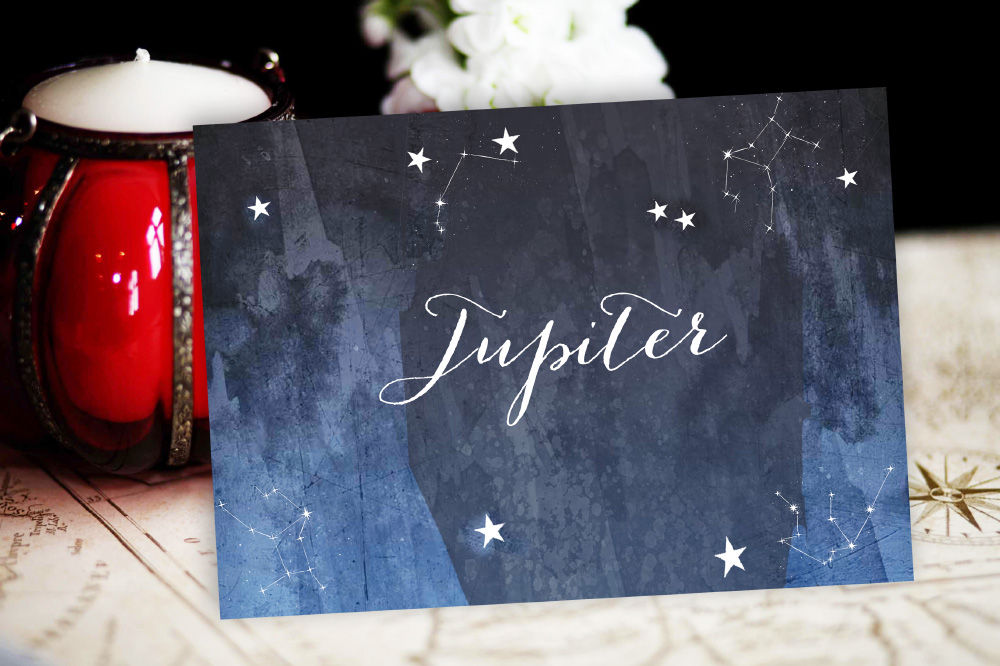 7. Midnight Stars Wedding Table Name Card by Hip Hip Hooray