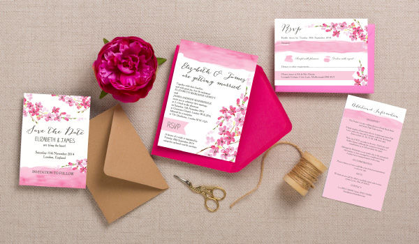 Cherry Blossom Spring Pink Flowers Watercolour Watercolor Wedding Invitations, Invites and Stationery by Hip Hip Hooray