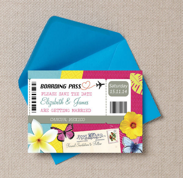Tropical Beach Travel Desination Boarding Pass Themed Wedding Save the Date Printable Template