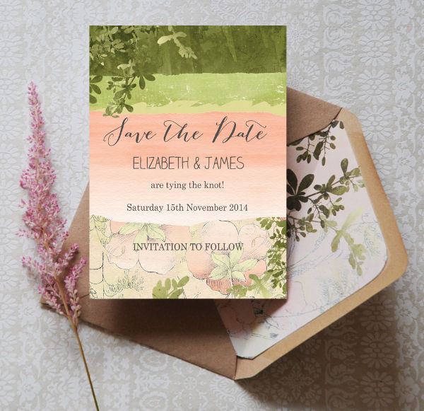 Wild Garden Floral Green and Peach Wedding Save the Date Card Printable Template by Hip Hip Hooray