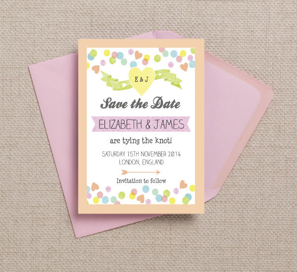Pastel Pink Yellow Green Peach Coral Confetti Candy Sweetie Themed Wedding Save the Date Card Printable Template