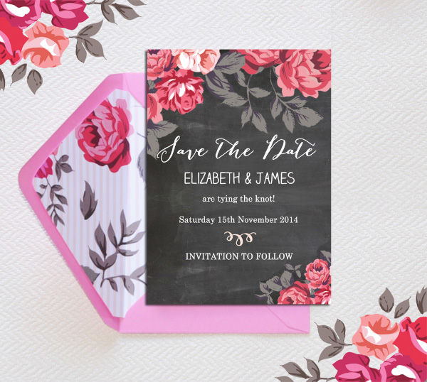 Rustic Floral Chalkboard Flowers Botanical Save the Date Card Printable Template by hiphiphooray