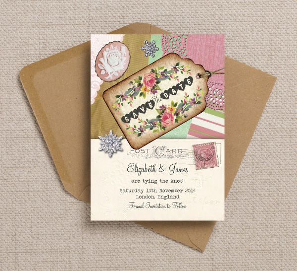 Vintage Trinkets Scrapbook Postcard Themed Wedding Save the Date Card Printable Template