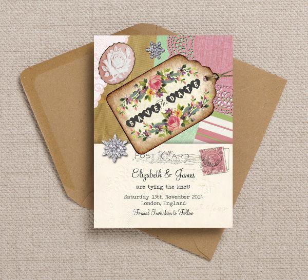 Vintage Trinkets Scrapbook Postcard Themed Wedding Save the Date Card Printable Template