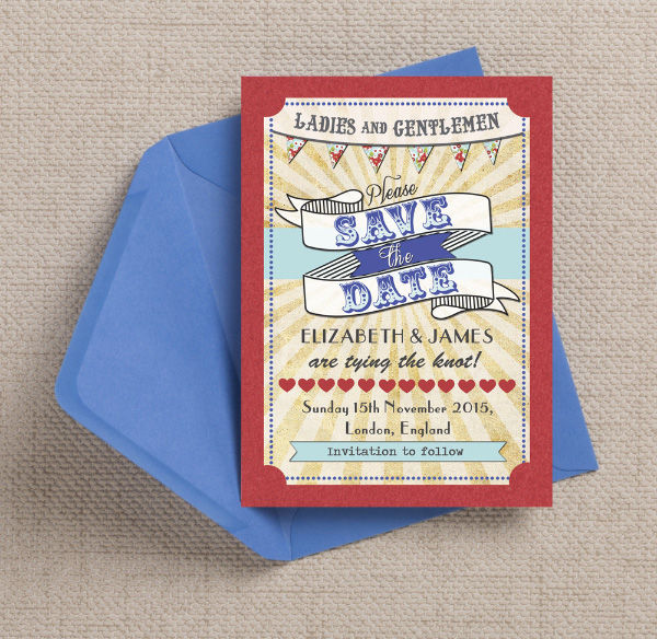 Red Blue Aqua Turquoise Vintage Circus Fair Fete Fayre Ticket Themed Wedding Save the Date Card Printable Template