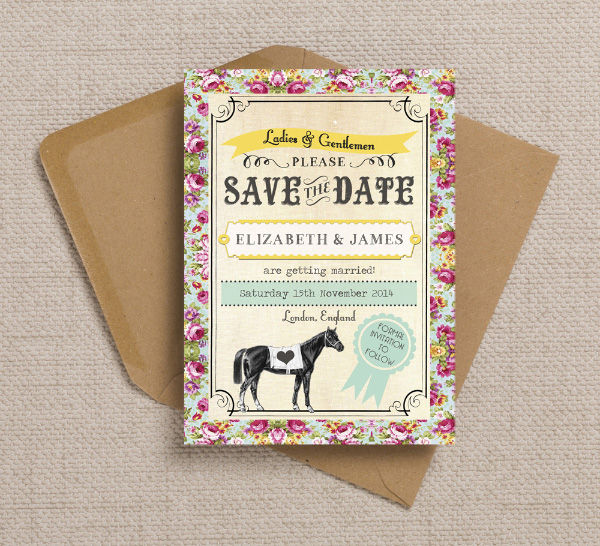 Horses Equestrian Racing County Show Country Rural Farm Wedding Save the Date Card Printable Template