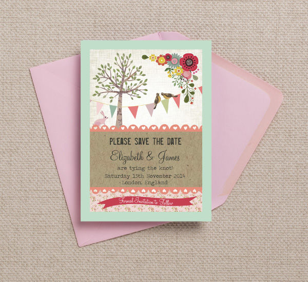 Vintage Woodland Bunting Birds Tree Nature Forest Themed Wedding Save the Date Printable Template