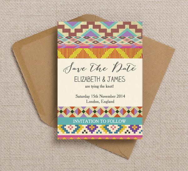 Aztec Ikat Mexican Mayan Native Indian Themed Geometric Bohemian Free People Festival Wedding Save the Date Card Printable Template
