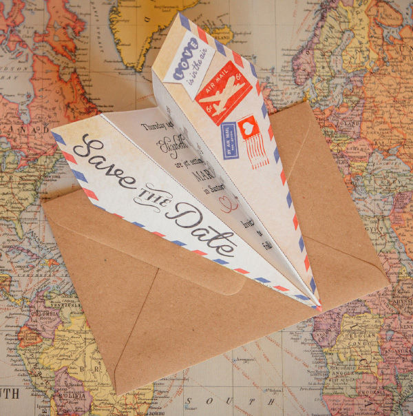 Vintage Airmail Travel Themed Wedding Save the Date Paper Plane Airplane Aeroplane