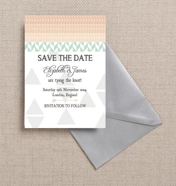 Pastel Green Mint Aqua Peach Grey Geometric Bohemian Themed Wedding Save the Date Card Printable Template