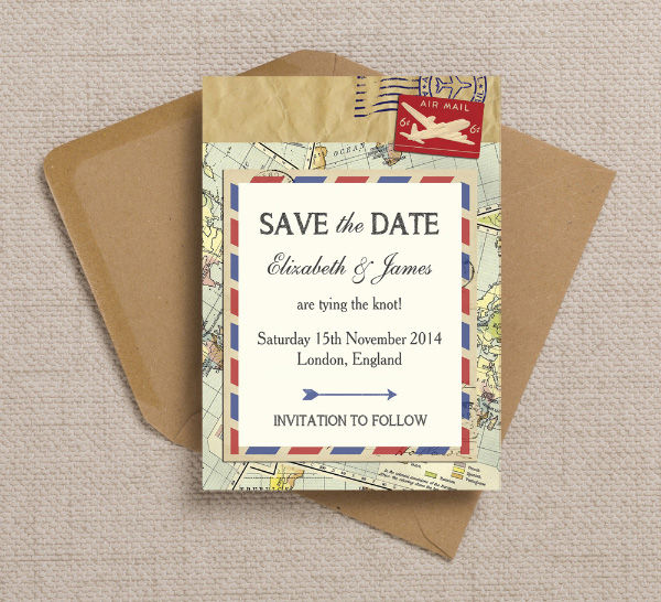 Vintage Airmail Travel Destination Postcard Themed Wedding Save the Date Card Printable Template