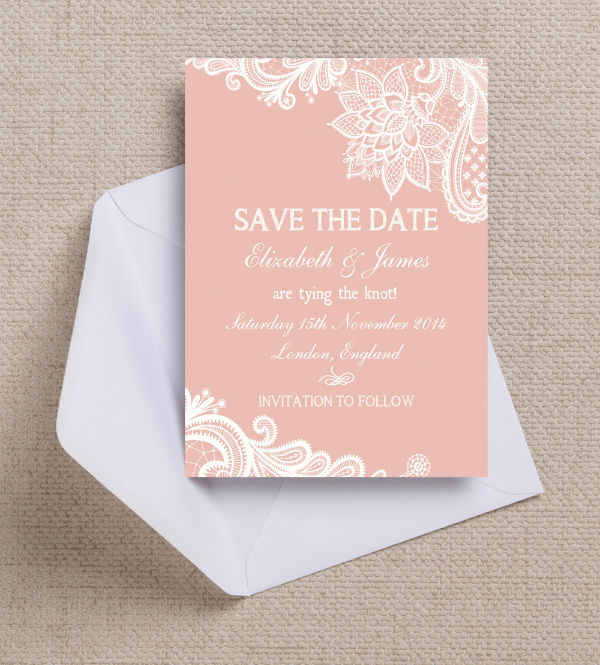 Vintage Lace Blush Pink Peach Wedding Save the Date Card Printable Template