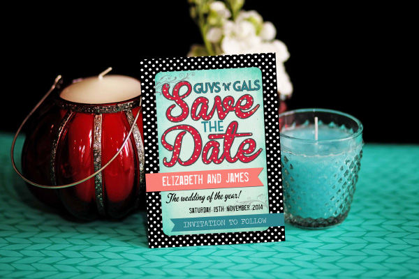 Rockabilly Retro Wedding Save the Date Card Printable Template by Hip Hip Hooray