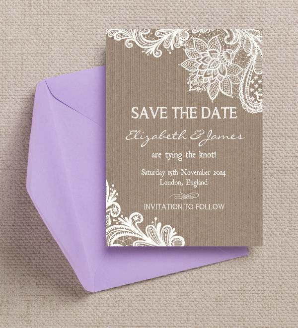 Rustic Kraft Lace Country Rural Hessian Burlap Wedding Save the Date Card Printable Template by Hip Hip Hooray