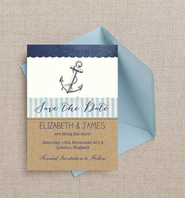 Vintage Rustic Nautical Sailing Navy Blue Kraft Themed Wedding Save the Date Card Printable Template