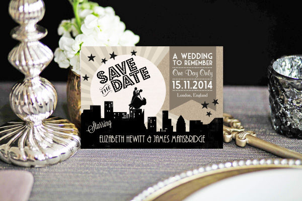 Vintage Hollywood Art Deco 1920s Wedding Save the Date Card Printable Template by Hip Hip Hooray