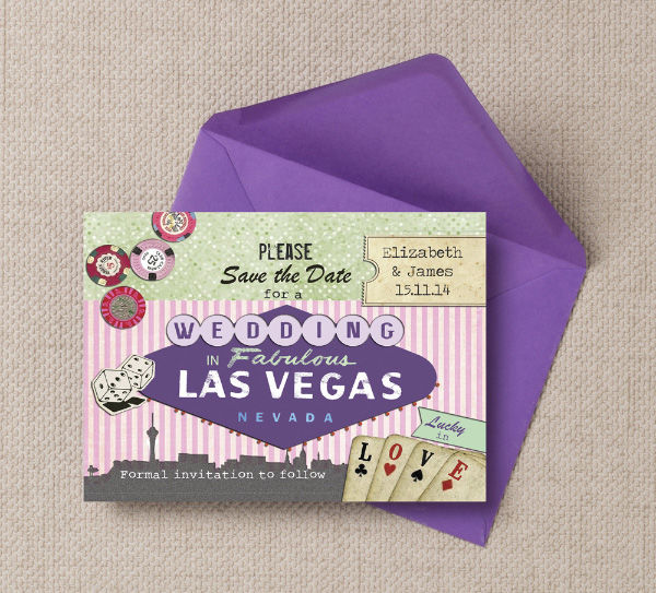 Vintage Retro Las Vegas Casino Themed Wedding Save the Date Printable Template