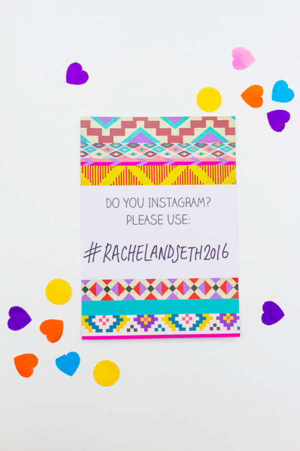 3 Free-Aztec-Ikat-Bohemian-festival-free-Printable-wedding-invitation-Hashtag-Instagram-Poster by Hip Hip Hooray