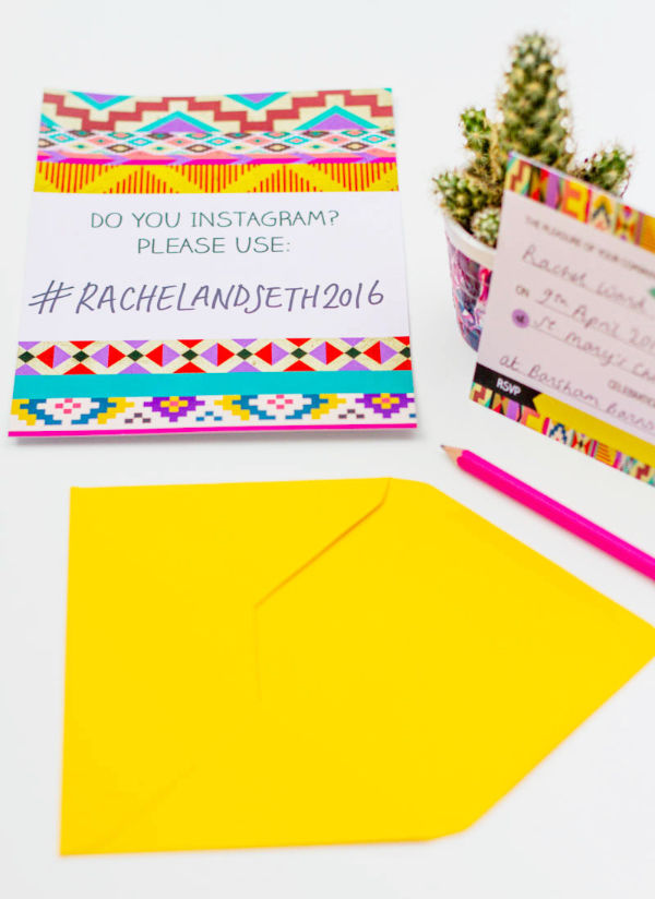 5 Free-Aztec-Ikat-Bohemian-festival-free-Printable-wedding-invitation-Hashtag-Instagram-Poster by Hip Hip Hooray