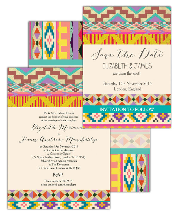 Aztec Ikat Bohemian Wedding Stationery Save the Date Invitation by Hip Hip Hooray