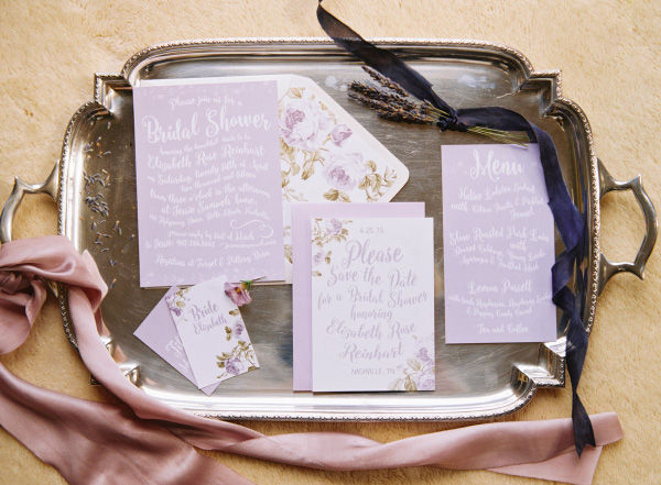lavender lilac bridal shower wedding invitations save the dates and stationery photo shoot1a
