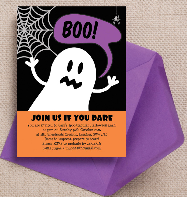 Ghost Spiders Web Black Purple Orange Halloween Birthday Party Invites Invitations Printable Printed by Hip Hip Hooray