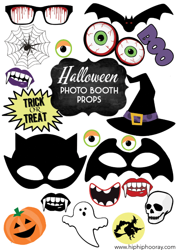 Halloween Wedding Party Photo Booth Props Trick or Treat Bat Cat Witch Pumpkin Printable Printed by Hip Hip Hooray