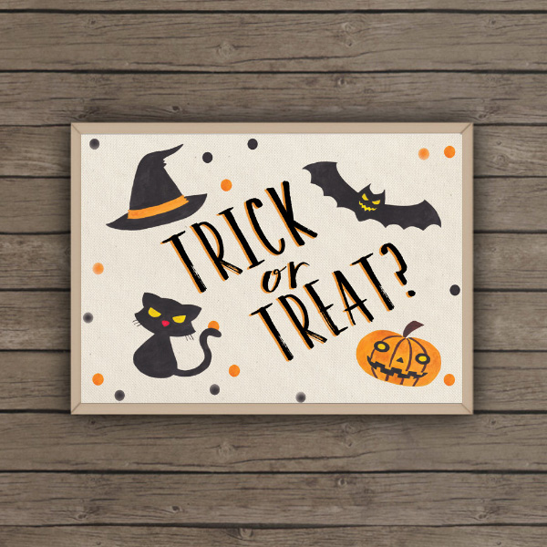 Halloween Wedding Party Sign Poster Print Trick or Treat Bat Cat Witch Pumpkin Printable Printed by Hip Hip Hooray