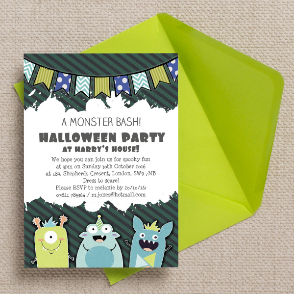 Monsters Bash Halloween Birthday Party Invites Invitations Printable Printed by Hip Hip Hooray