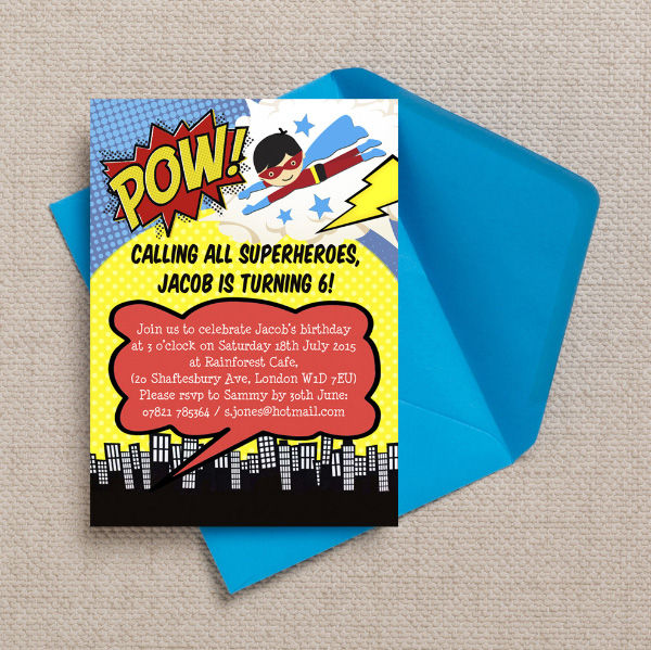 Printable Printed Superhero Comic Book Birthday Party INvitations Invites by Hip Hip Hooray