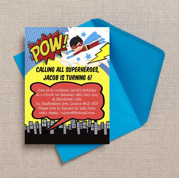 Printable Printed Superhero Comic Book Birthday Party INvitations Invites by Hip Hip Hooray