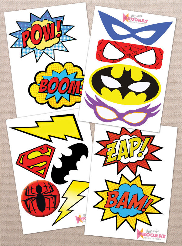 Printable Printed Superhero Comic Book Birthday Party Photo Booth Props Signs DIY by Hip Hip Hooray