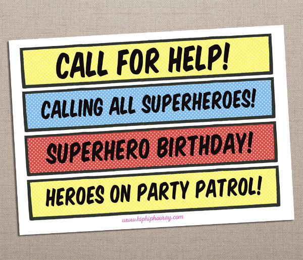 Printable Printed Superhero Comic Book Birthday Party Signs Photo Booth Props by Hip Hip Hooray