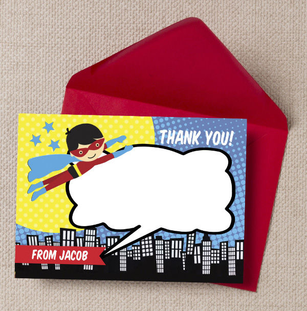 Printable Printed Superhero Comic Book Birthday Party Thank You Cards by Hip Hip Hooray
