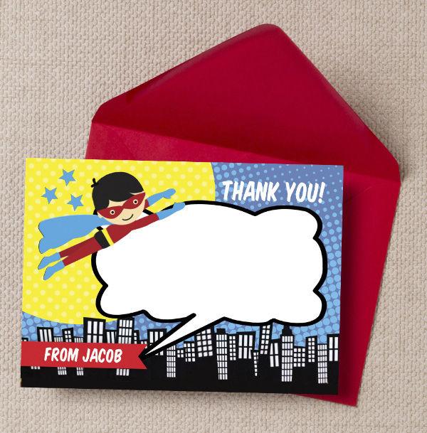 Printable Printed Superhero Comic Book Birthday Party Thank You Cards by Hip Hip Hooray