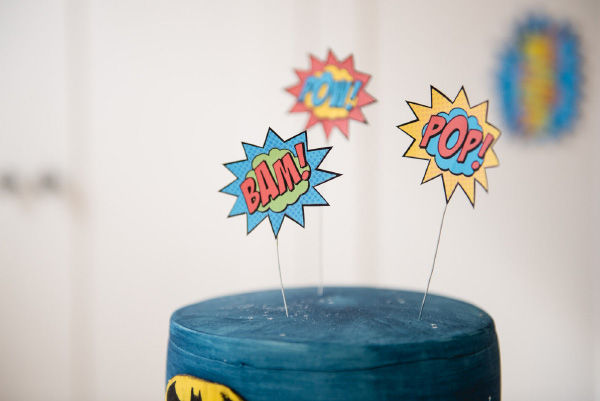 Superhero Themed Party Printables and Photo Booth Props by Hip Hip Hooray Cake Toppers