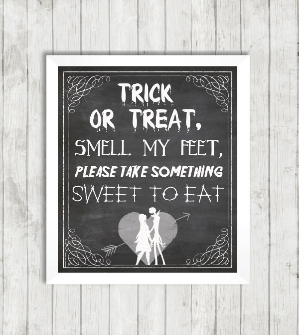 Trick Treat Jack Sally Skellington Nightmare Before Christmas Halloween Sign Poster Printable Printed Party Wedding Gothic