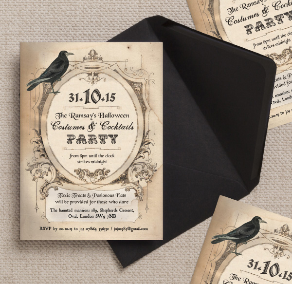 Vintage Antique Gothic Crow Halloween Wedding Party Invites Invitations Printable Printed by Hip Hip Hooray