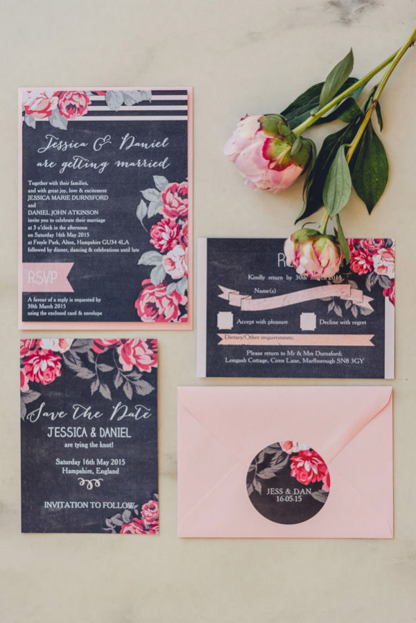 Vintage style chalkboard floral flowers red pink roses rustic wedding invitations and stationery seating plan cards printable and printed by hip hip hooray3