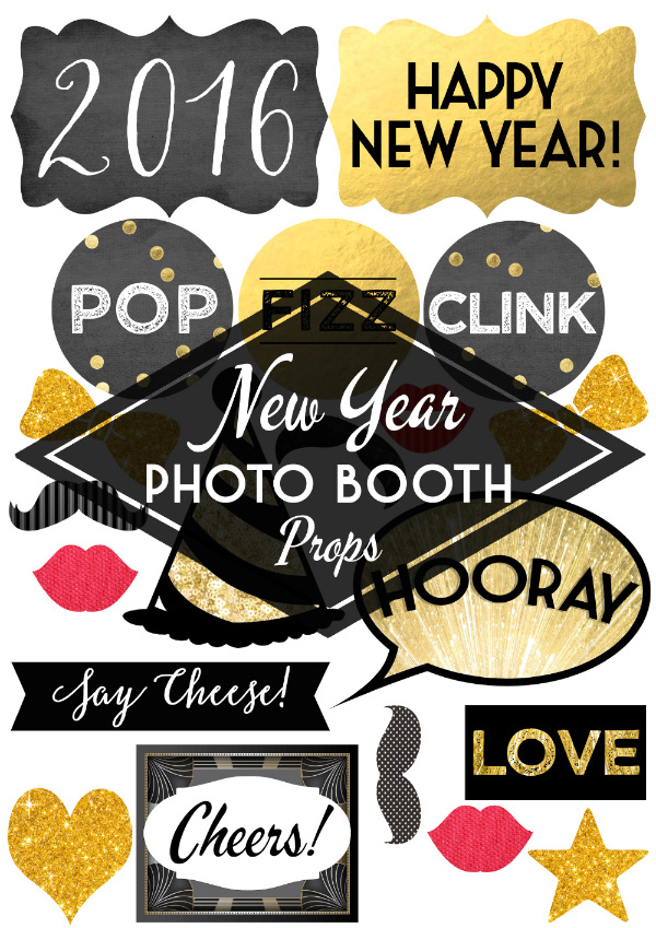 DIY Printable Black Gold Glitter Sparkle New Years Eve Party Photo Booth Props by Hip Hip Hooray