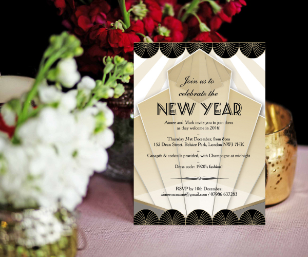 DIY Printable Printed Black Gold Art Deco 1920s New Years Eve Party Invitations Invites by Hip Hip Hooray