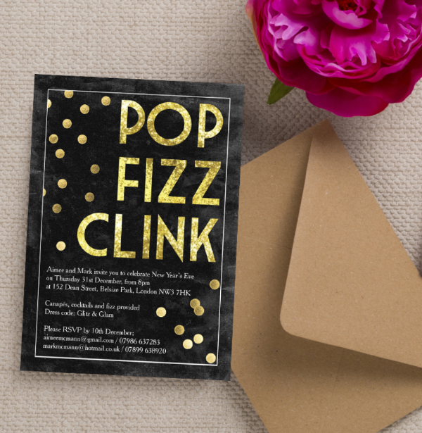 diy printable printed black gold calligraphy confetti glitter pop fizz clink new years eve party invitations