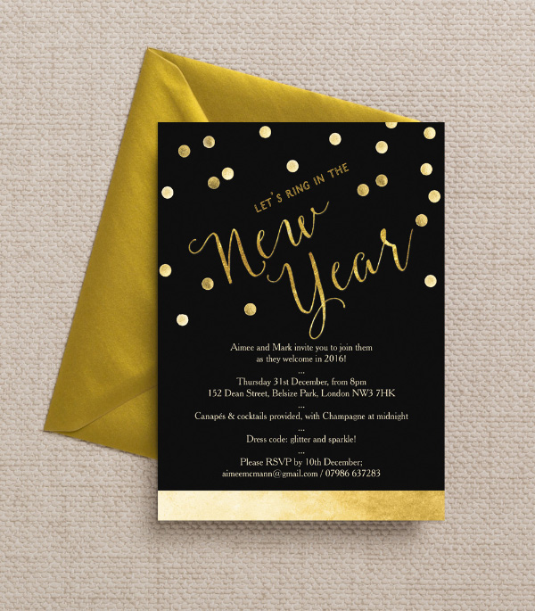 DIY Printable Printed Black Gold Calligraphy Confetti New Years Eve Party Invitations Invites by Hip Hip Hooray