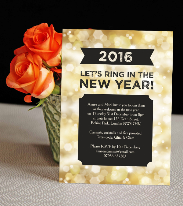 DIY Printable Printed Black Gold Sparkle Glitter New Years Eve Party Invitations Invites by Hip Hip Hooray