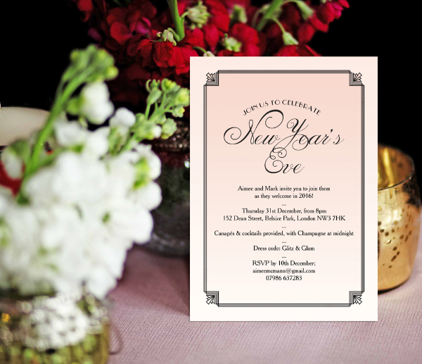 DIY Printable Printed Blush Pink Art Deco 1920s New Years Eve Party Invitations Invites by Hip Hip Hooray